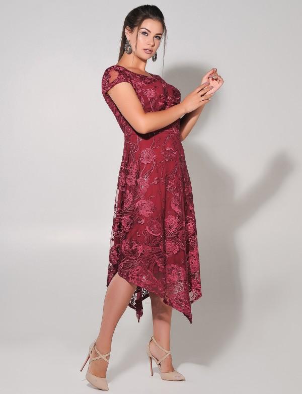 G 3067 Платье вечернее гипюровое с асимметричным низом