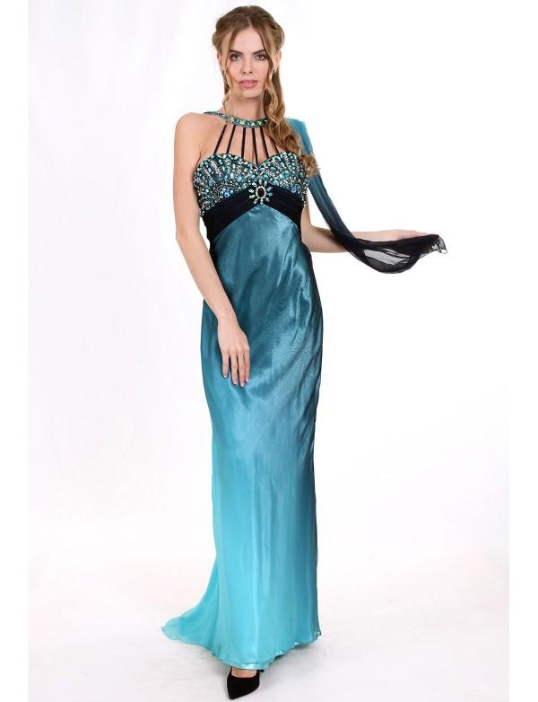 L 039 Платье вечернее с расшитым лифом из шифона с эффектом градиент