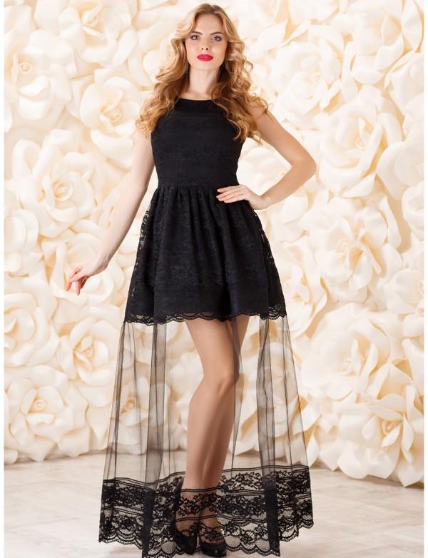 P 0819 Платье вечернее с кружевом шантильи и вставкой из сетки