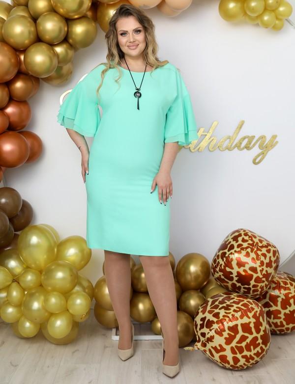 P 1149 A Платье коктейльное с шифоновыми воланчиками