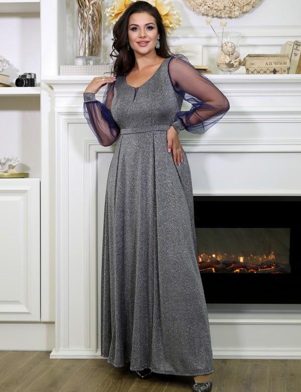 OG 5061 A Платье вечернее с глиттерным напылением и рукавчиком из сетки