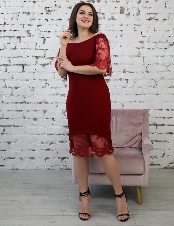 P 1128 Платье коктейльное с цветочной вышивкой