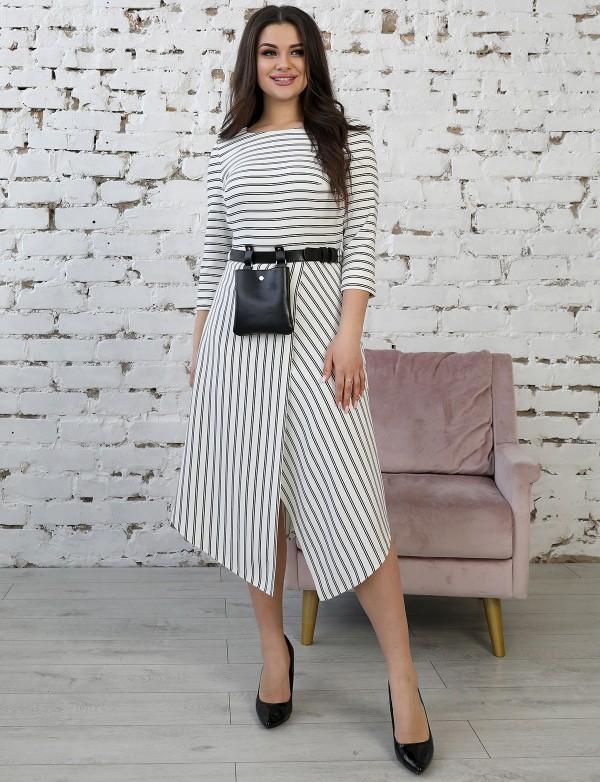 P 2078 Платье коктейльное с ассиметричной юбкой, поясом и кармашком