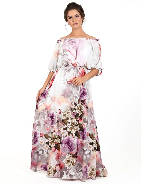 G 2251 A Платье летнее с цветочным принтом