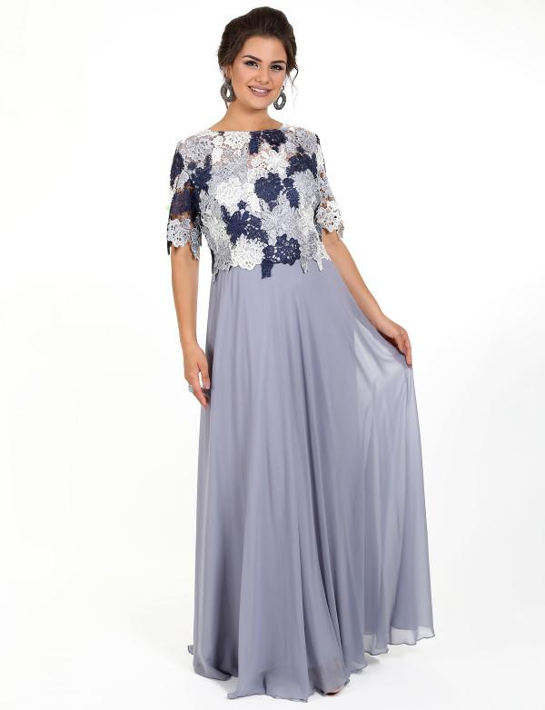 G 2157 Платье вечернее с кружевным верхом
