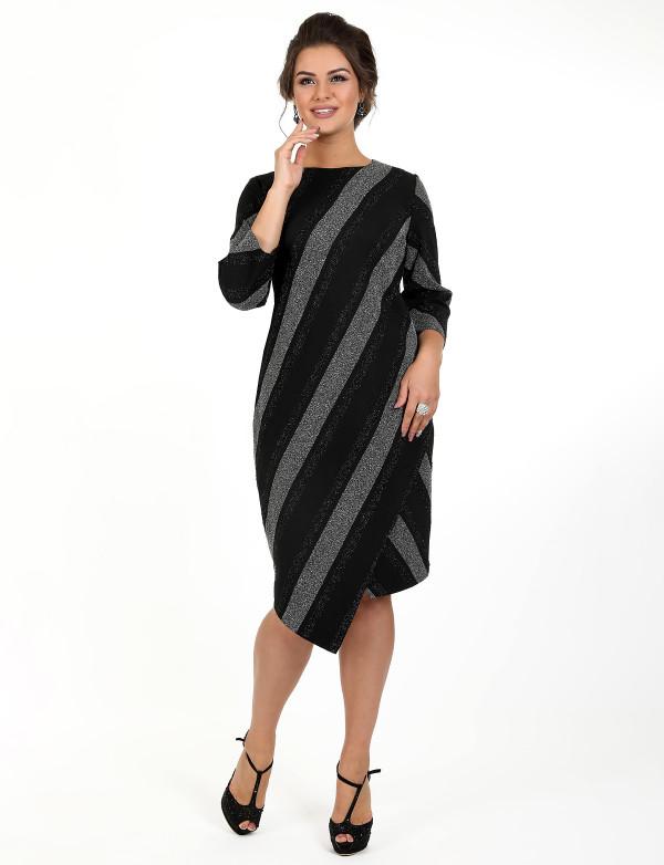 P 0030 Платье коктейльное с асимметричным низом из трикотажа с полосками из люрикса