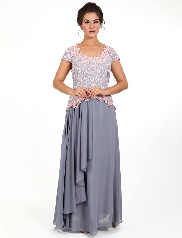 G 2253 Платье вечернее с гипюровым верхом