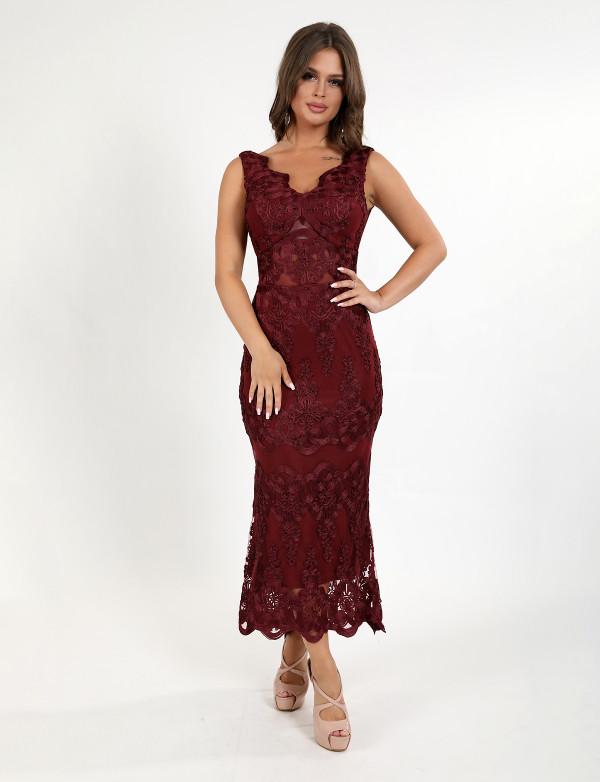 G 3062 Платье вечернее из гипюра вышитого шнуром