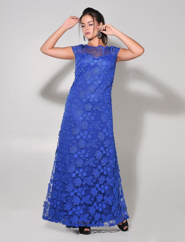 G 2242 A Платье вечернее из объемного гипюра в пол