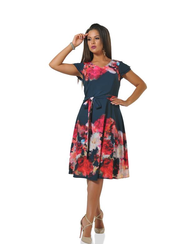 P 0077 Платье коктейльное с принтом