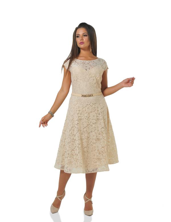 P 0942 A Платье коктейльное гипюровое с поясом