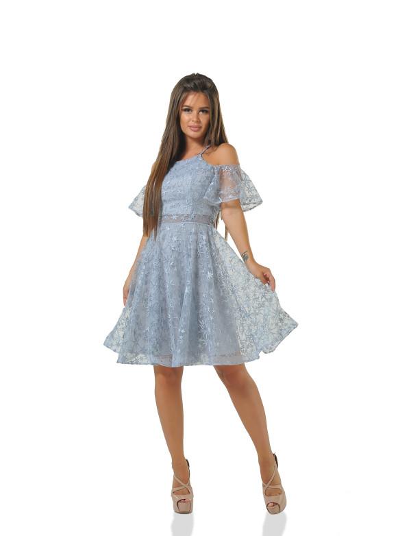P 0071 Платье коктейльное из эксклюзивного гипюра-звезды