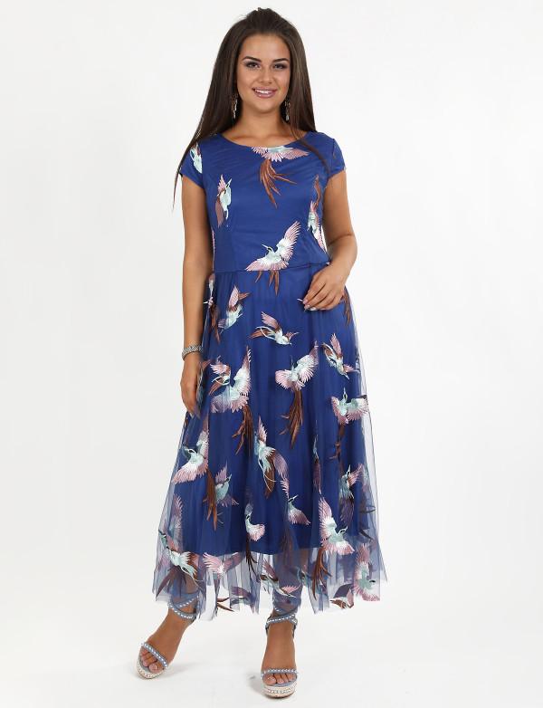 G 2257 Платье вечернее из гипюра-журавли на сетке