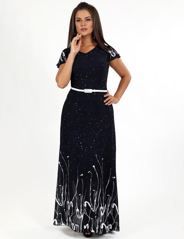 G 3078 Платье вечернее с принтованным купоном