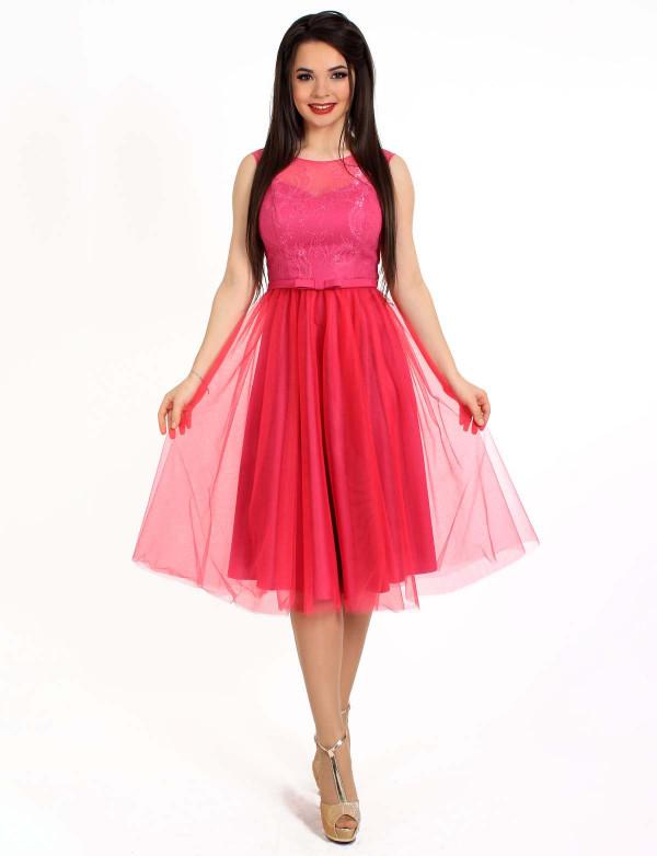 P 0788 Платье коктейльное с юбкой из сетки и гипюровым верхом