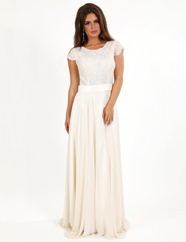 G 2266 Платье вечернее с гипюровым верхом и шифоновым низом