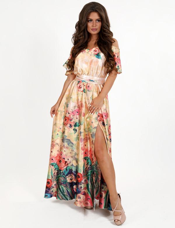 G 3085 Платье вечернее из принтового легкого атласа