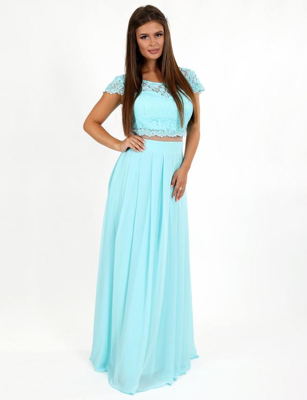 G2188 Платье вечернее в видео топа и юбки, соединенных сеткой