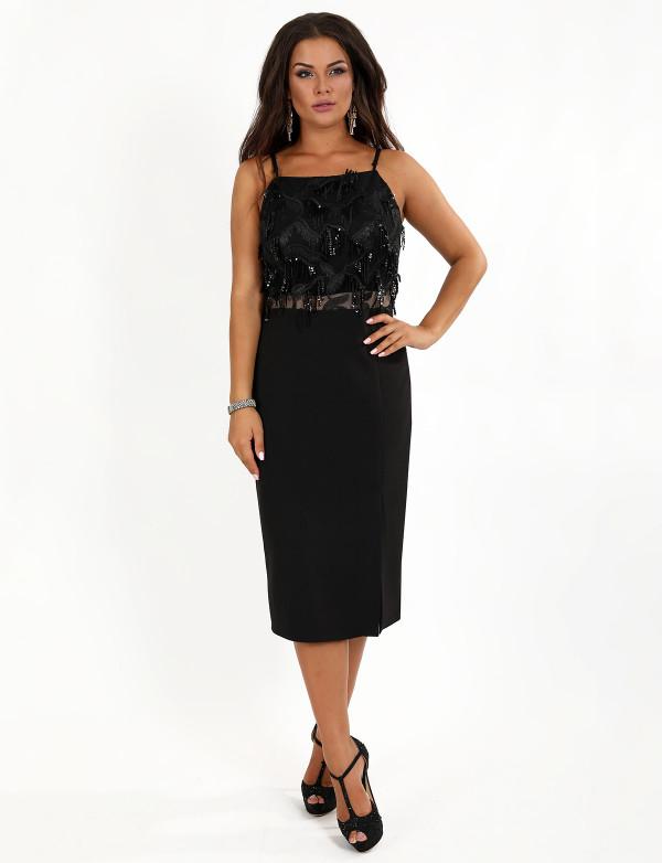 P 0990 Платье коктейльное  с верхом из бахромы в виде паетки