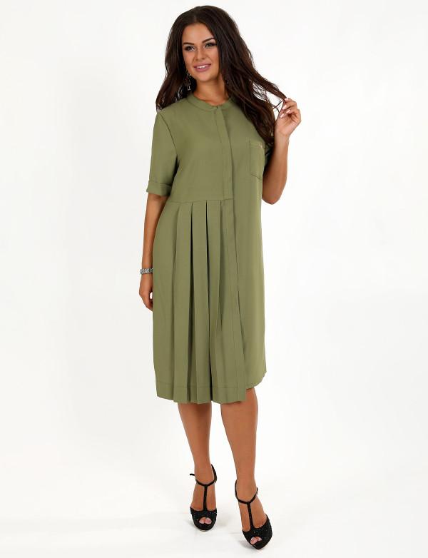 P 0972 Платье-рубашка с кармашком на груди и воротником