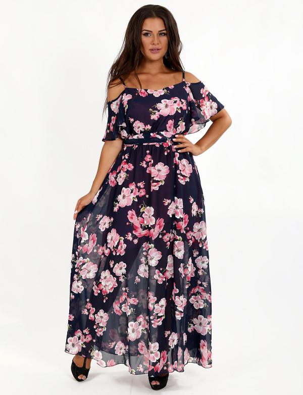 G 3077 A Платье легкое шифоновое с цветочным принтом