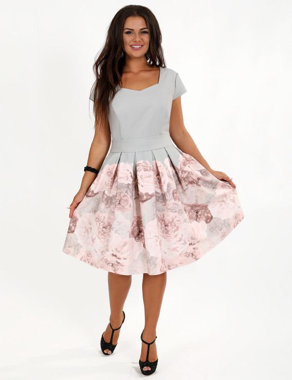 Р 0970 Платье коктейльное с цветочным принтом