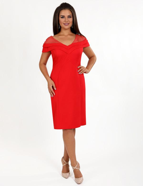 P 0087 Платье коктейльное с просветом из сетки