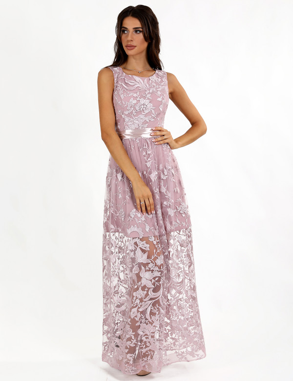 G2132 Платье вечернее гипюровое с поясом