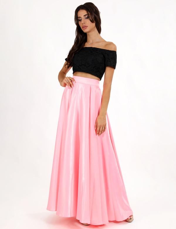 G 2236 Платье вечернее в виде гипюрового топа-анжелика и атласной юбки