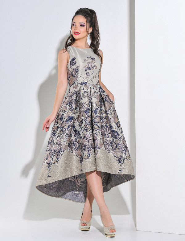 G 2197 Платье вечернее из итальянского жакарда с поясом