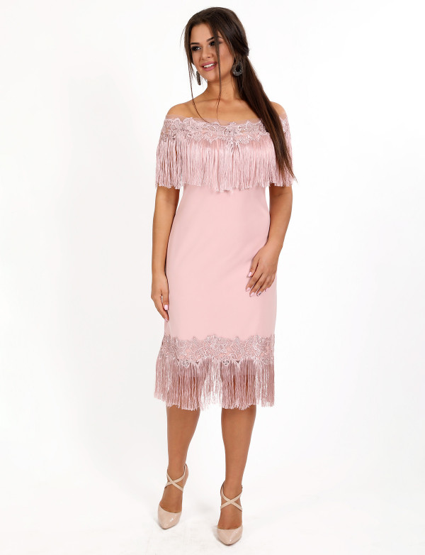 P 0939 Платье коктейльное с бахромой