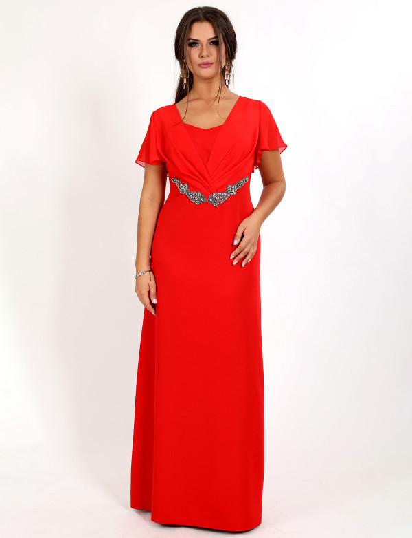G 3087 Платье вечернее с шифоновыми рукавами летучая мышь и ручной вышивкой