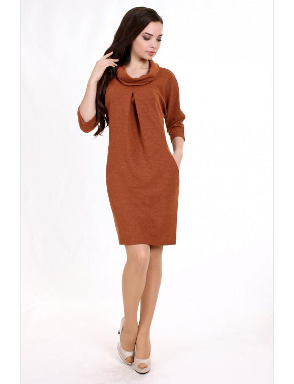 P 0755_1 Коктейльное платье с рукавом летучая мышь и карманами