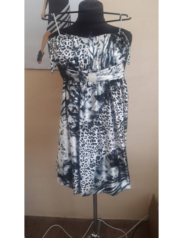Р 0237 Атласное платье с тигровым принтом